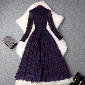 Image 2 - Longue robe de bureau à dentelle, qualité supérieure, douce, tenue pour femme, été 2020, avec nœud, collection printemps décontracté