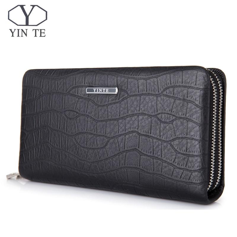 YINTE Casual Men Wallets Long Zipper Male Wallet Soft Leather Wallet Men Purses Wallet Male Clutch Handy Bag Portfolio T925-3