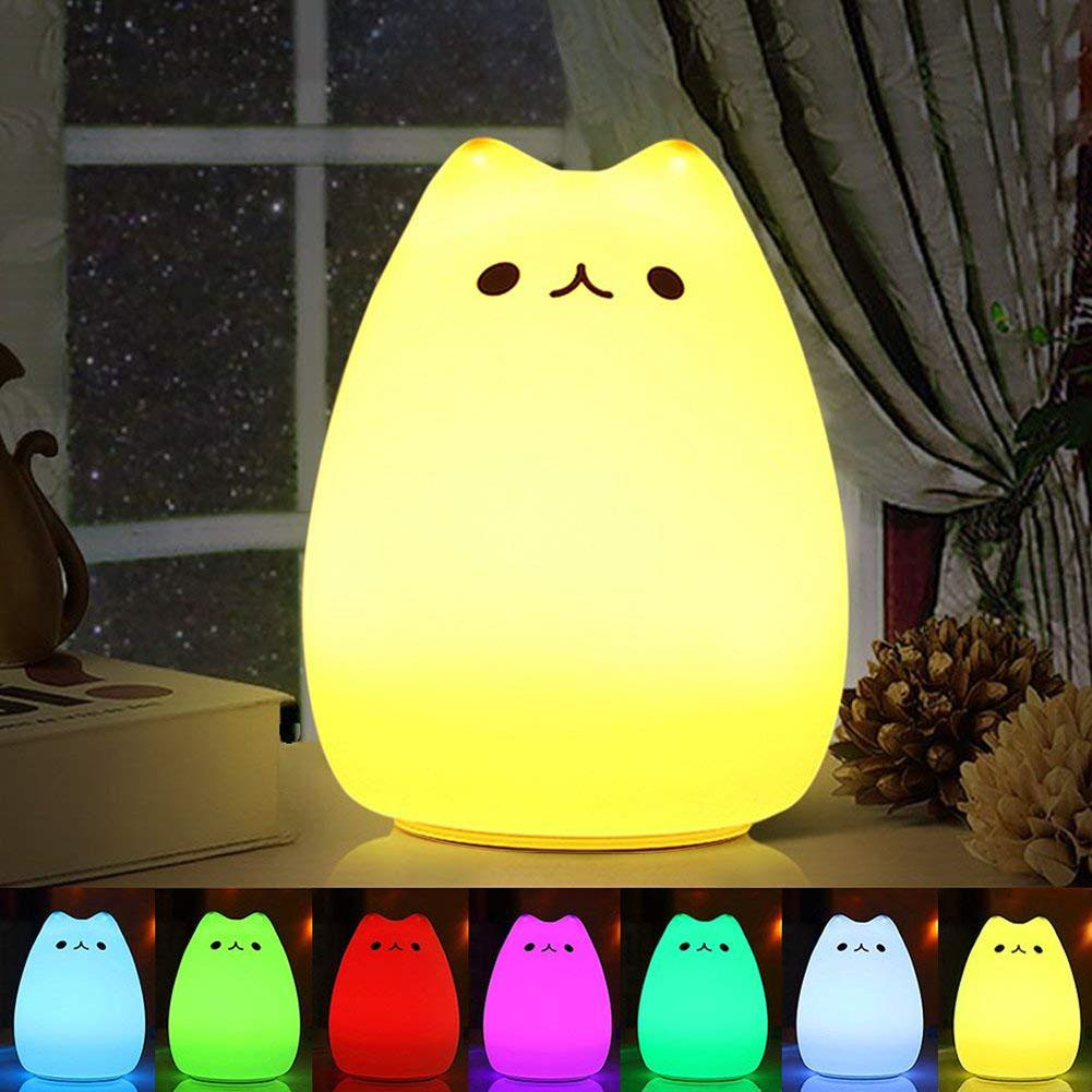 Night Light Cute Cartoon Cat Silicone LED Night Light Soft Touch Tap Change Color Bedside Lamp Night Light USB Charged Lamp Kids