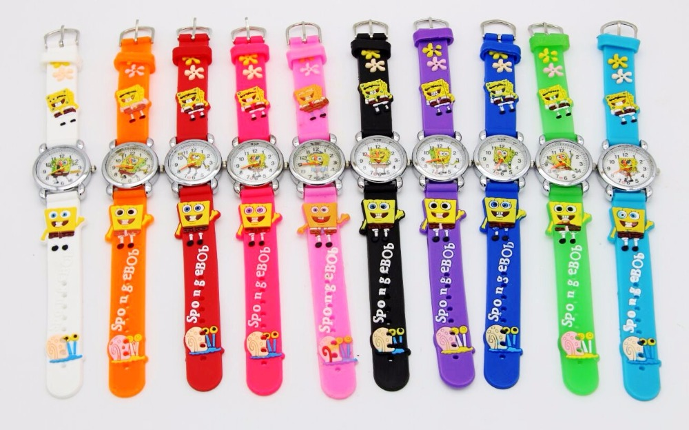 10pcs/lot New Arrival Waterproof 3D Cartoon Silicone Band Chilidren's Watches SpongeBob Sqwatches Watch Wholesale