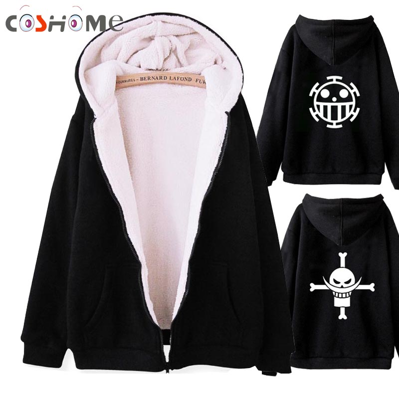 Coshome Anime One Piece Luffy Trafalgar Law Winter Jacket Coat Men Women Thick Woolen Hoodie Cosplay Costume