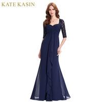 Navy Blue 2018 Mother Of The Bride Dresses Lace Dress Elegant Half Sleeve Chiffon Ruffles Evening