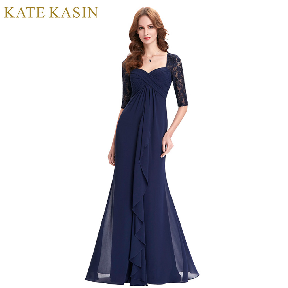 Navy Blue 2018 Mother of the Bride Dresses Lace Dress Elegant Half Sleeve Chiffon Ruffles Evening Dresses Mother Bride Gown 0136