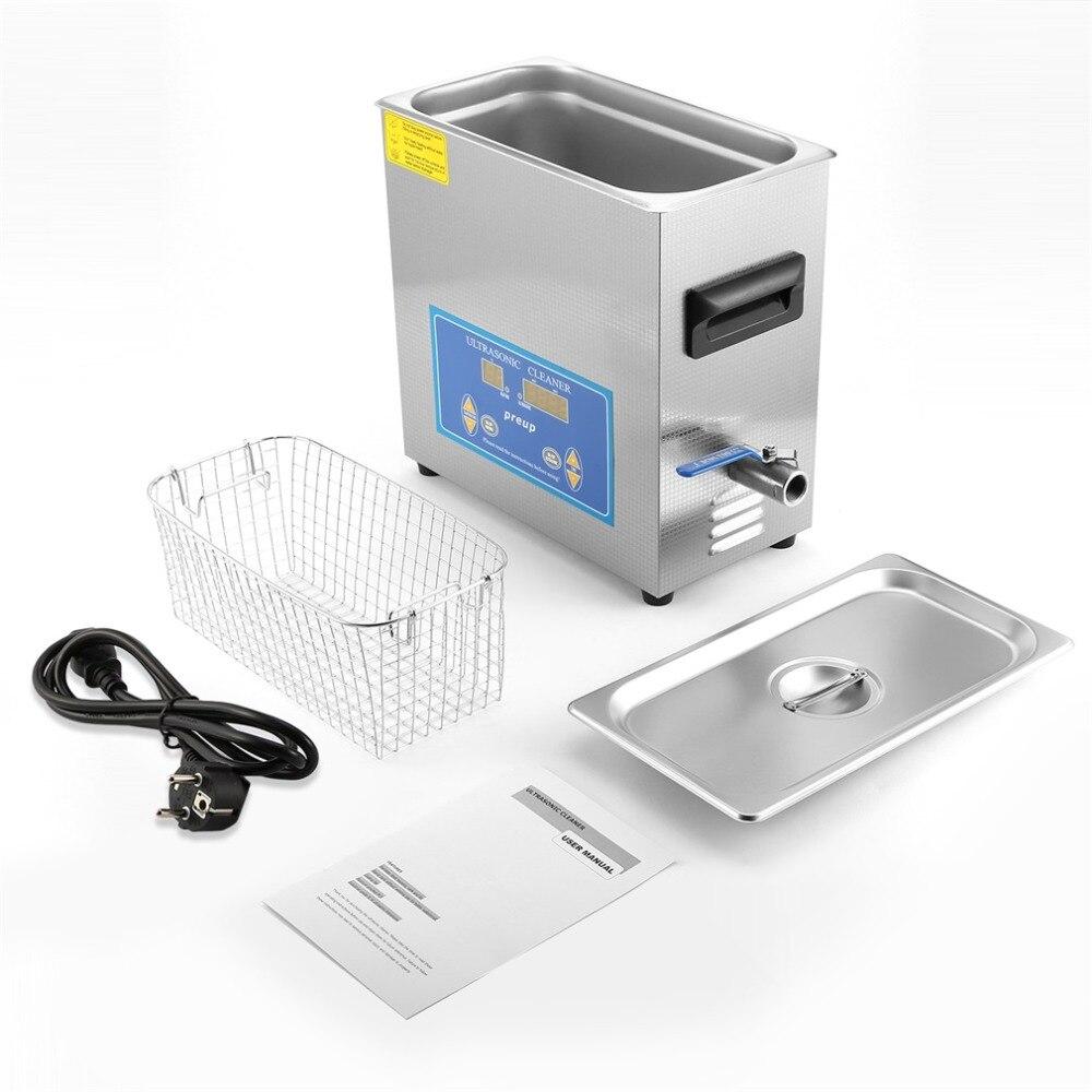 Acier inoxydable 6L Grande Capacité Nettoyeur À Ultrasons 360HTD avec Maille Panier De Refroidissement Ventilateur Humidité-épreuve PCB