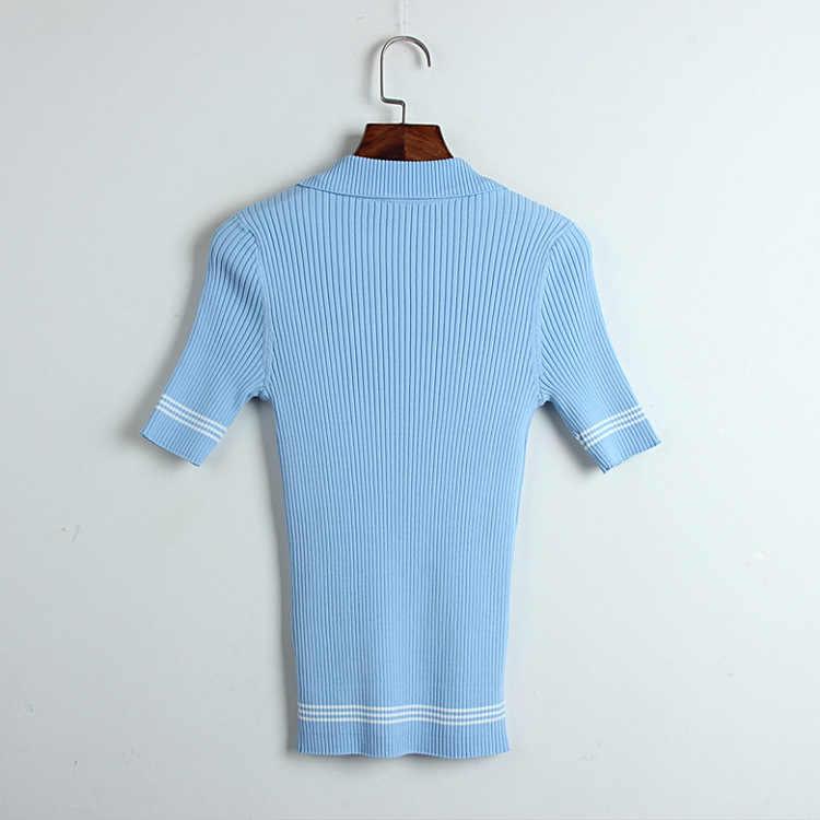 Новинка 2019, подиумная футболка с отложным воротником, свитер Харадзюку, женская трикотажная женская футболка, Повседневная футболка с короткими рукавами