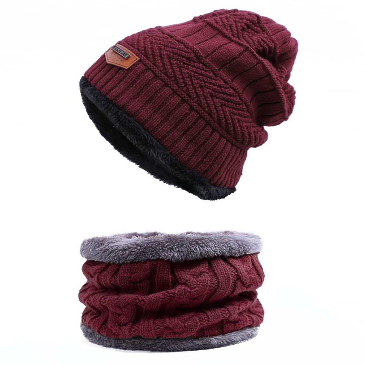 Evrfelan, комплект из двух предметов, зимняя шапка и шарф для мужчин, зимние шапочки, шарфы, мужские зимние комплекты, толстый хлопок, теплые зимние аксессуары - Цвет: D