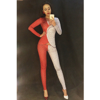 Women Red And White Women Rhinestone Bodysuit Full Of Sparkling Crystals Stones Jumpsuit Party Celebrate Performance Stage Wear