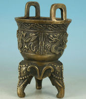 Asian Chinese Old Bronze Carved DRagon Elephant Statue Buddha Incense Burner
