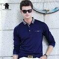 2017 Новых людей С Длинным Рукавом Polo Рубашка Мода Чистый Цвет высокое Качество Бизнес Случайный Polo Shirt For Men Тянуть Homme CB17D8889
