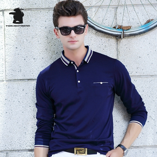 2017 New men's Long Sleeve Polo Shirt Fashion Pure Color High Quality Business Casual Polo Shirt For Men Pull Homme CB17D8889