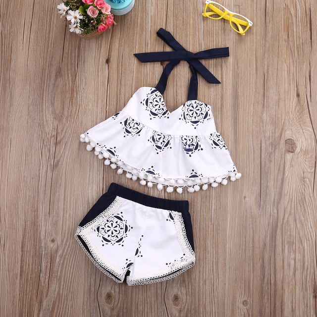 Toddler baby Girls Clothes Tank Top T-shirt Sleeveless Belt Shorts Infant  Cute Clothing Baby Girl 2pcs Outfit Set dac830748cfb