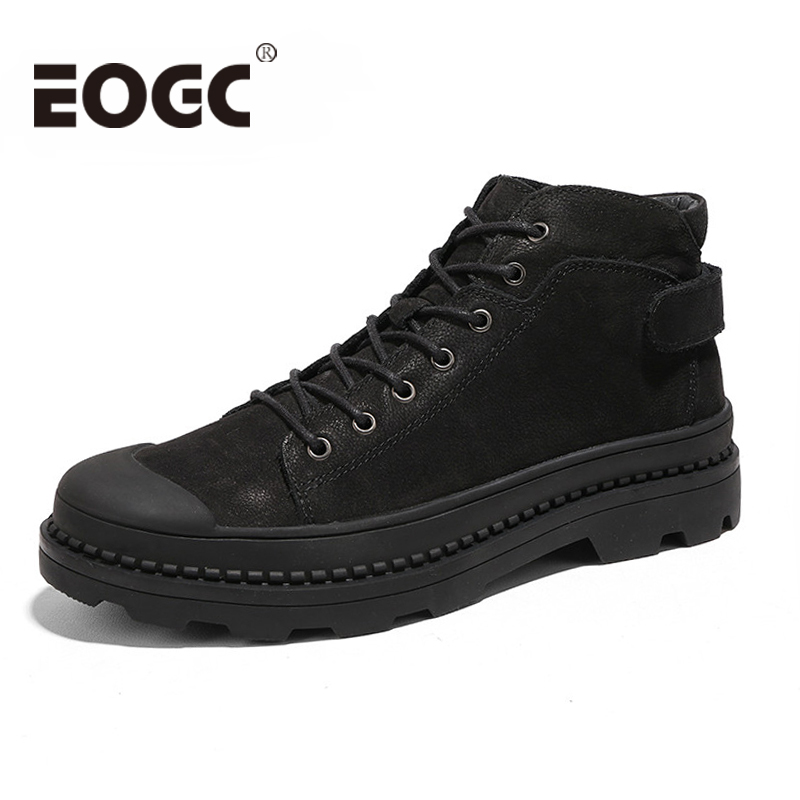Winter Men's Ankle Boots Genuine Leather Men shoes Fashion Casual Short Boot Super Warm Winter Snow Boots 46-in Basic Boots from Shoes    1