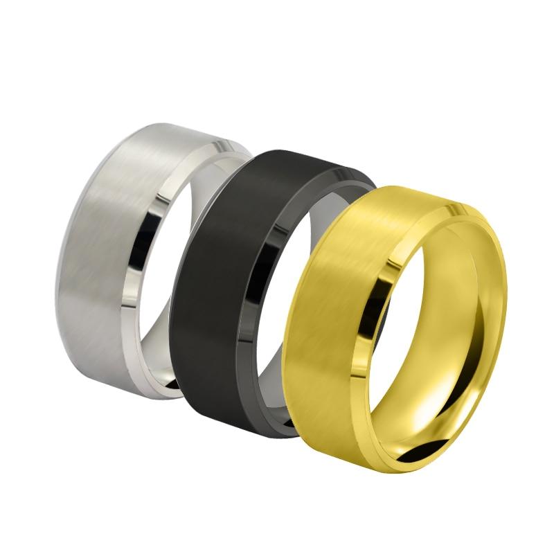 Anel chanfrado duplo de aço inoxidável 361 anel de moda masculina