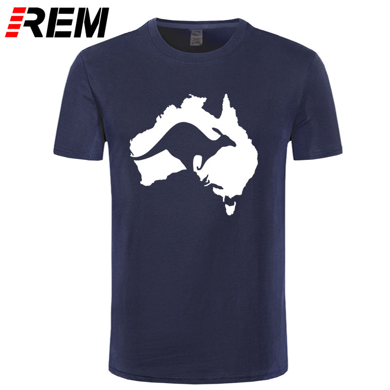 REM Cool Australia Map Kangaroo T Shirt Men Cotton O-neck Summer Style Short Sleeve Australia T-shirt Tops Tee