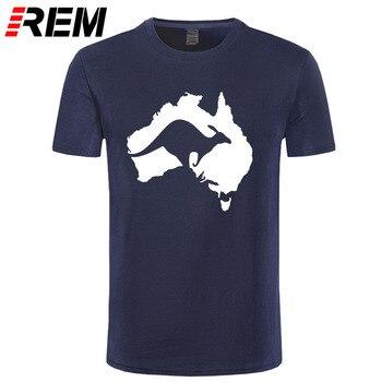 REM Mát Úc Bản Đồ Kangaroo T Áo Sơ Mi Nam Cotton O-Cổ Summer Phong Cách Ngắn Tay Úc T-Shirt Áo Tee