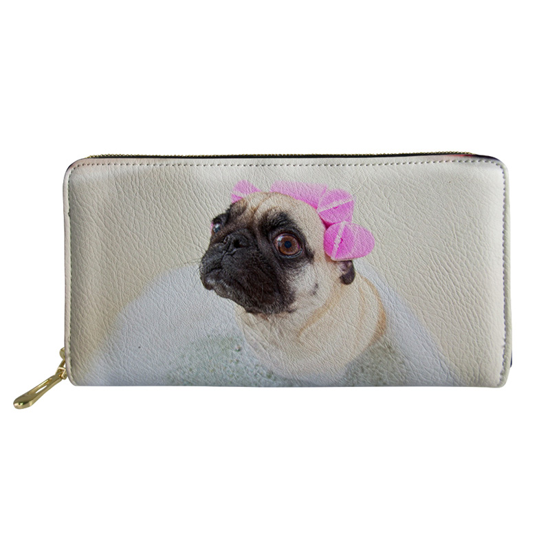 Noisydesigns Women Coin purses canta for Girls Mini Purses& Wallets Pug Print Men PU Leather Slim Rfid Wallet Coin Purse Male