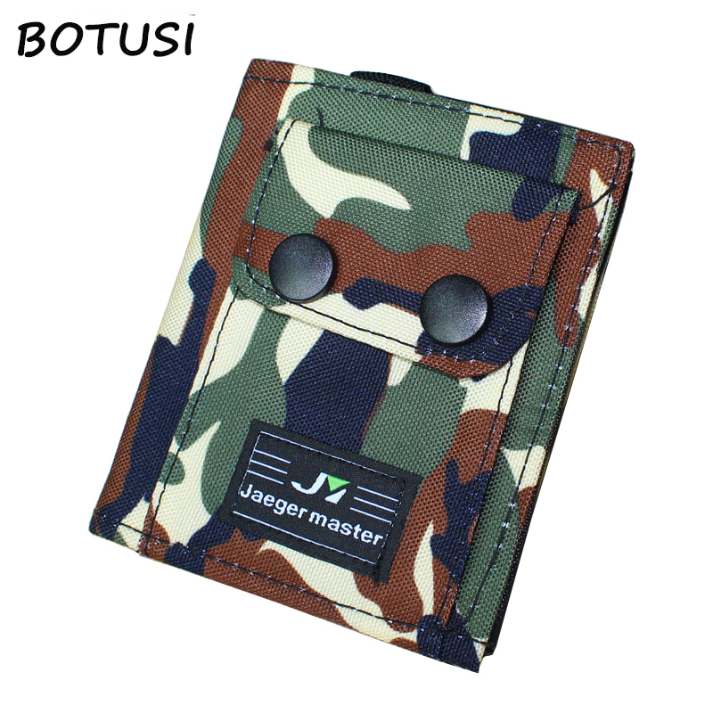 BOTUSI New Vintage Denim Jeans Canvas Wallets Best Gift For Boyfriend Short Zipper Coin Bag Purses Army Camouflage Man Wallet