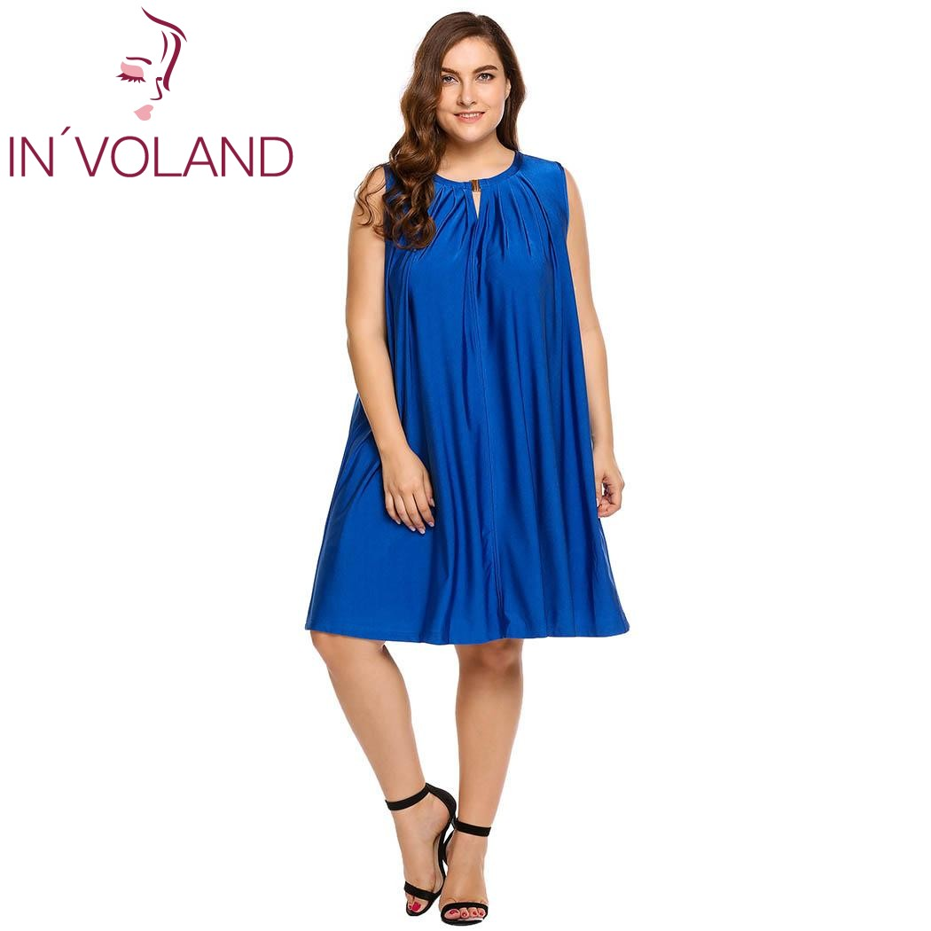 IN'VOLAND Women Dress Plus Size Casual Sleeveless Keyhole Solid Pleated Front Loose Hollow Out Lady Beach Dresses Oversized 4XL