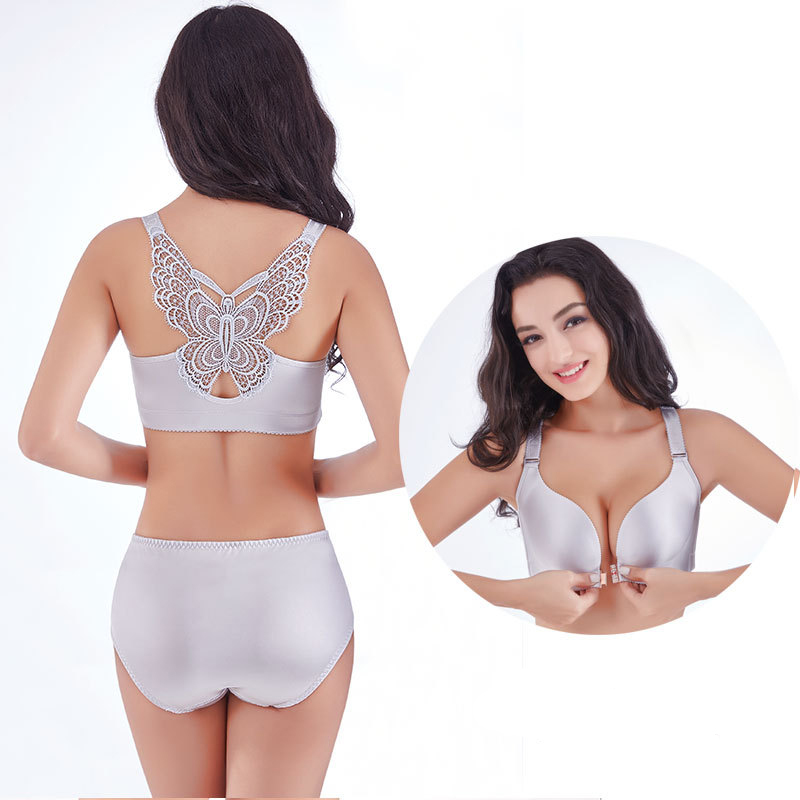 a5d3f6e7978 Front Closure Plus Size Bra Set 50 48 46 44 42 C D E Cup Sexy Seamless  Butterfly Push Up Bra and Panty Set Underwear Women Set-in Bra   Brief Sets  from ...