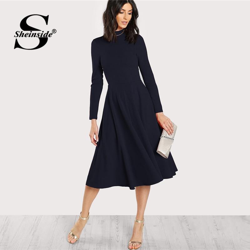 Sheinside Navy Mock Neck Fit And Flare Dress Women Long Sleeve Party Dresses Fall Office Ladies High Waist Elegant Midi Dress