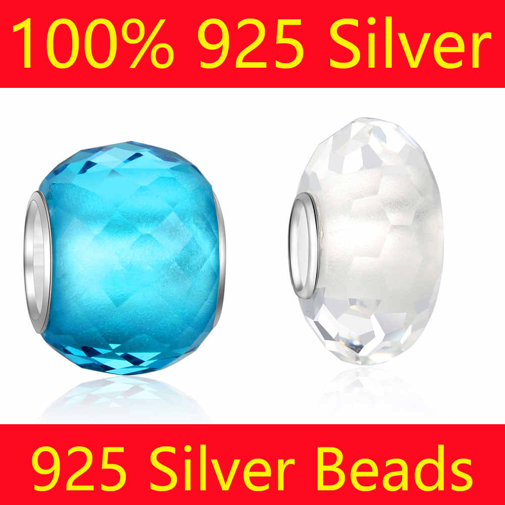 VNISTAR Beads 15 Colors 100% S925 Sterling Silver Core Faceted Crystal Bead Charms Murano Glass European Beads For DIY Jewelry