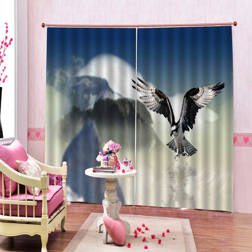 bird fly curtains office Bedroom 3D Window Curtain Luxury living room decorate Cortina Blackout curtain in Curtains from Home Garden