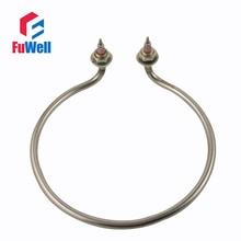 Codo en forma de raqueta de acero inoxidable 304, elemento de calefacción de agua, 220V, 2KW, 220mm, diámetro circular, calentador de tubo eléctrico