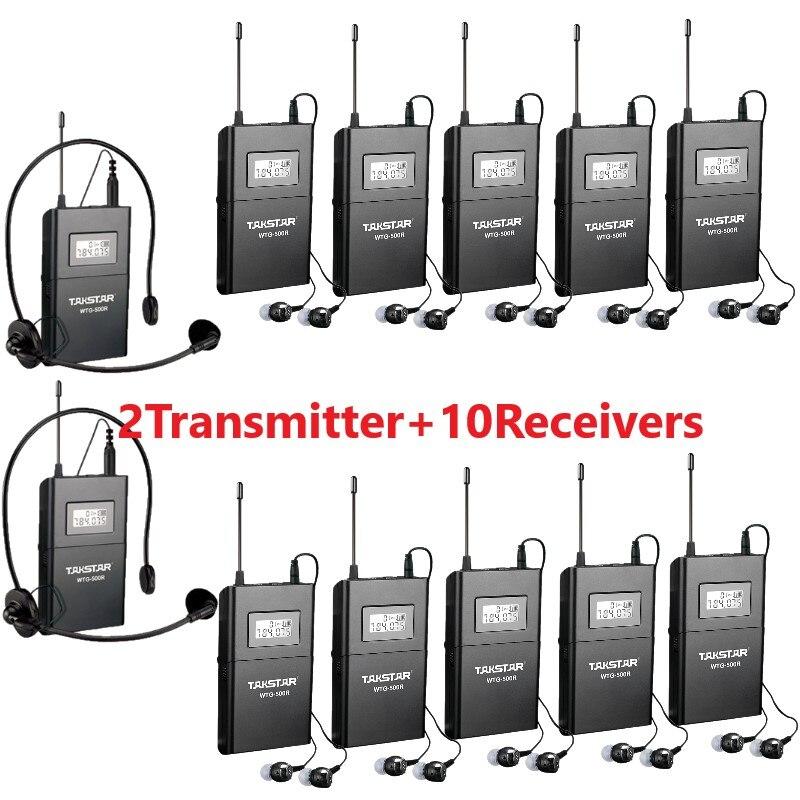 Hot Takstar WTG 500 UHF système de guide audio sans fil pour l'interprétation simultanée/enseignement 2 transmetteur + 10 récepteurs-in Microphones from Electronique    1