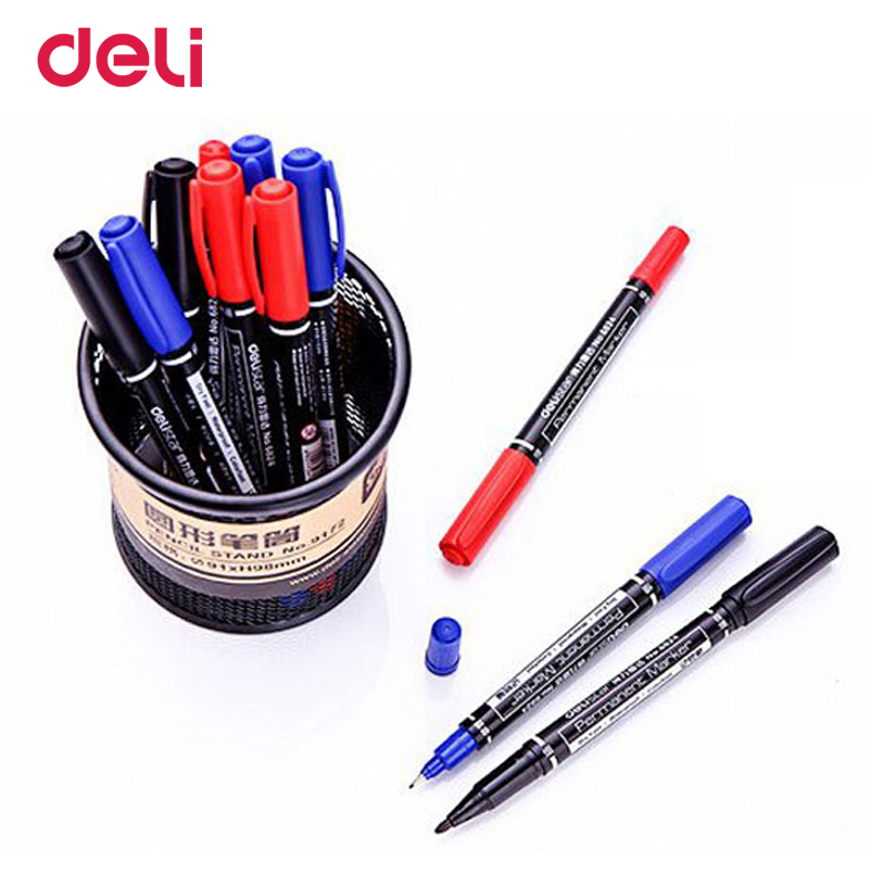 Deli wholesale 12pcs colored dual tip 0 5 1 mm fast dry permanent sign marker pens fabric metal quality fineliner for drawing in Marker Pens from Office School Supplies