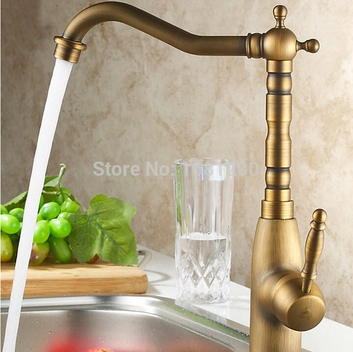 ФОТО Chinese Classic Antique Style Brass Kitchen Swivel Faucet Brushed Finish Mixer Tap