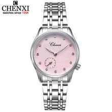 עור אלגנטי אופנה חדשה CHENXI & נירוסטה רצועת השעון קוורץ שעונים נקבה לצפות נשים מזל נשים שורש כף יד שעונים ליידי