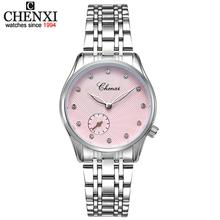 CHENXI nowa moda eleganckie skórzane i Watchband ze stali nierdzewnej kobiet zegarki kwarcowe kobiet zegarka kobiet szczęście zegarki Lady tanie tanio QUARTZ 3Bar Klamra Luksusowe Nie pakiet Odporny na wstrząsy Odporne na wodę 32mm Hardlex CX-304L-PD-Women 24cm 8 5mm 18mm