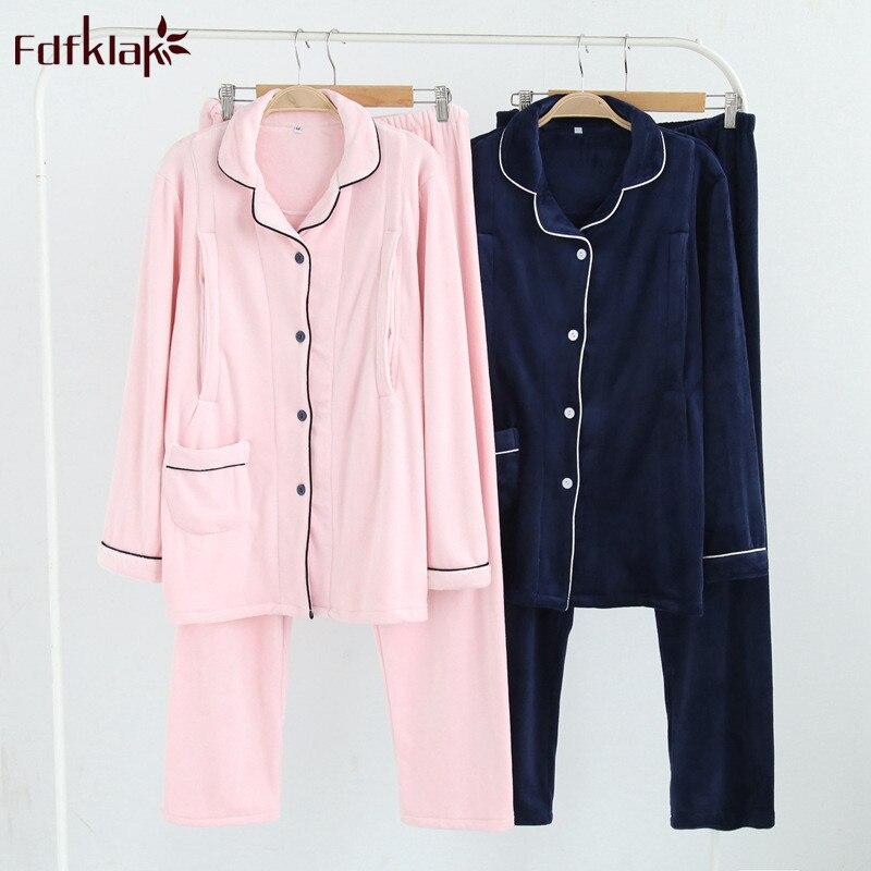 Fdfklak Casual cotton pajamas for pregnant women maternity nightwear autumn winter maternity sleepwear set pregnancy clothes|Maternity Sets| |  - title=