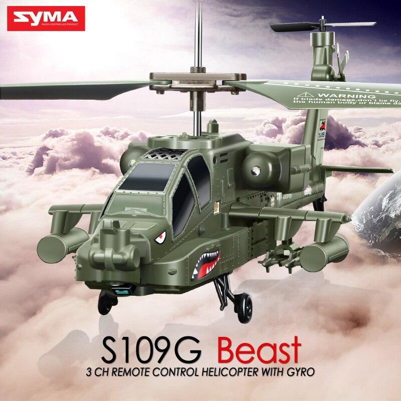 SYMA S109G RC helicóptero AH-64 Apache 3CH RC Drone simulación helicóptero de Control remoto con luz LED Flying Juguetes para los niños