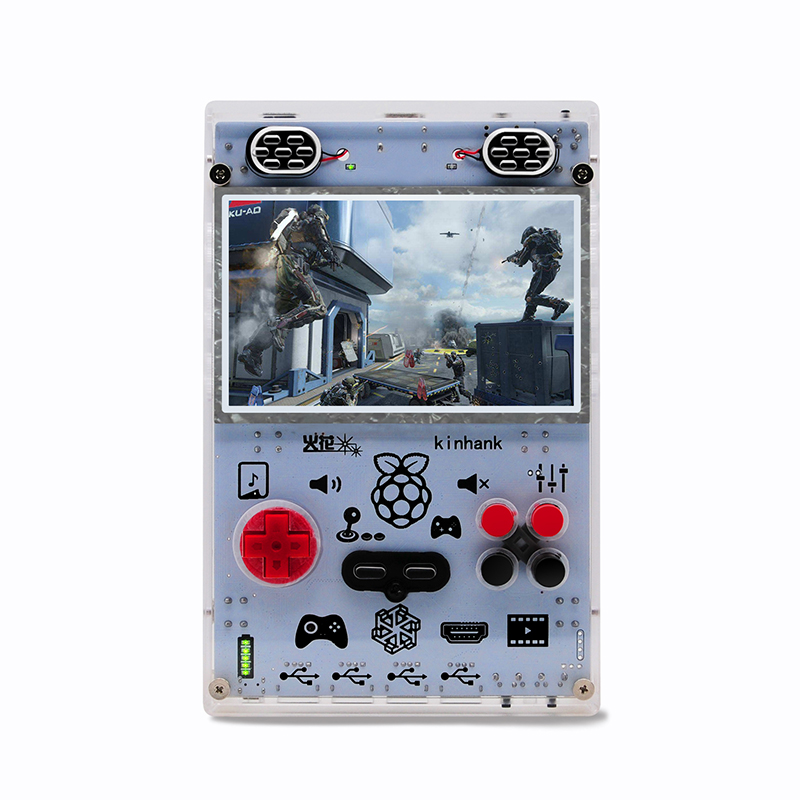 DIY Handheld Game Console with Raspberry Pi Computer Module 3 Lite 5.0 Inch Screen Pi-Boy Game Player Built-in Over 15000 Games