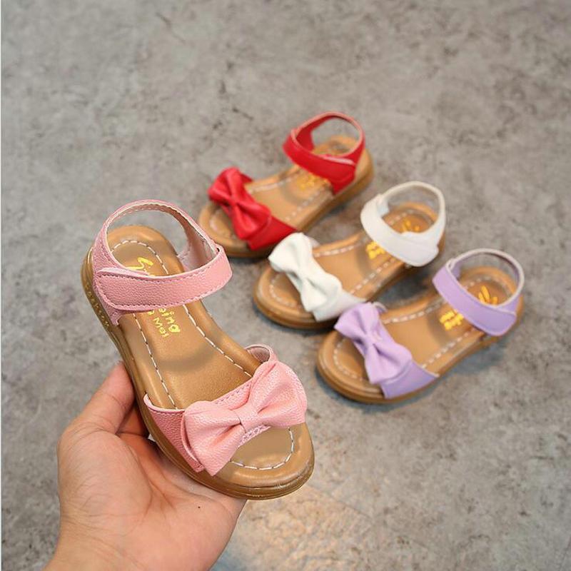 Girls Sandals Shoes 2019 New Summer Fashion Bowknot Sandals Non-Slip Princess Flat PU Leather Shoes EU Size 22-36