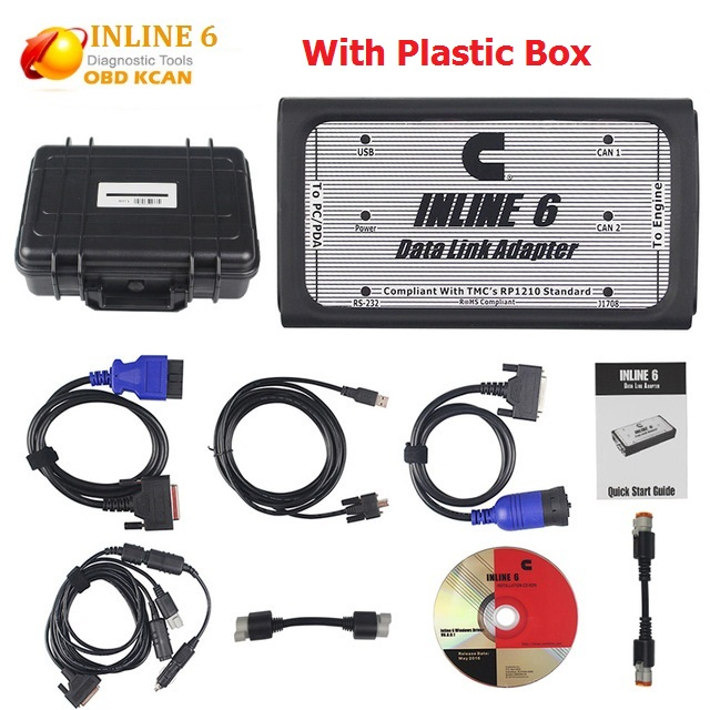 INLINE 6 Data Link Adapter Heavy Duty Diagnostic Tool Scanner Full 8 cable Truck Diagnostic interface inline6 inline 5(China)