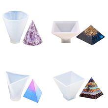Moules à bijoux en Silicone, ensemble de 4 moules à bijoux pour cône pyramide, en Silicone, pour décoration de maison, fabrication de bougies et de savon
