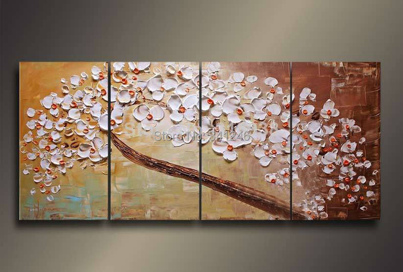 Hand painted modern home decor wall art pictureBranch white flowers thick palette font b knife b