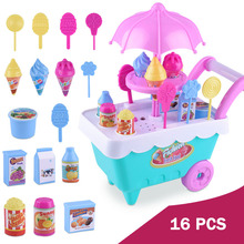 Simulation mini trolley girl candy truck ice cream shop supermarkets children play house toys 16 Pcs