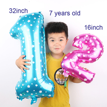 Large 30inch 1PC pink blue number foil balloons aluminum helium ballon Happy birthday party decoration Wedding globos supplies