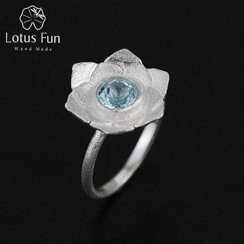 Lotus Fun réel 925 argent Sterling pierre de topaze naturelle créative à la main Designer Bijoux fins anneaux de Lotus pur pour les femmes Bijoux