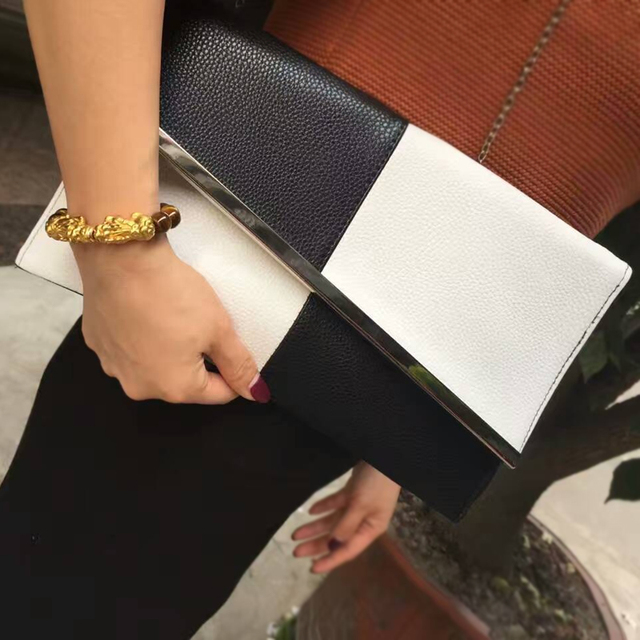 Women's Stylish Black and White Clutch