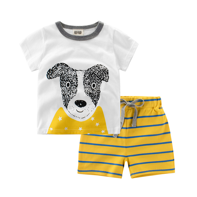2018 new children boy sets summer baby dog t-shirt striped shorts pure cotton short-sleeved two-piece trousers