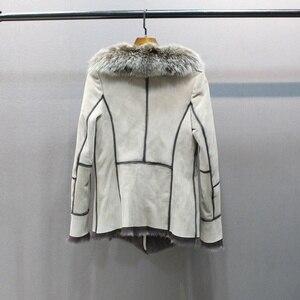 Image 5 - 100% hakiki koyun derisi deri kürk ceket tilki kürk yaka ince stilleri moda kadın sonbahar cilt ve kuzu koyun kürk ceket