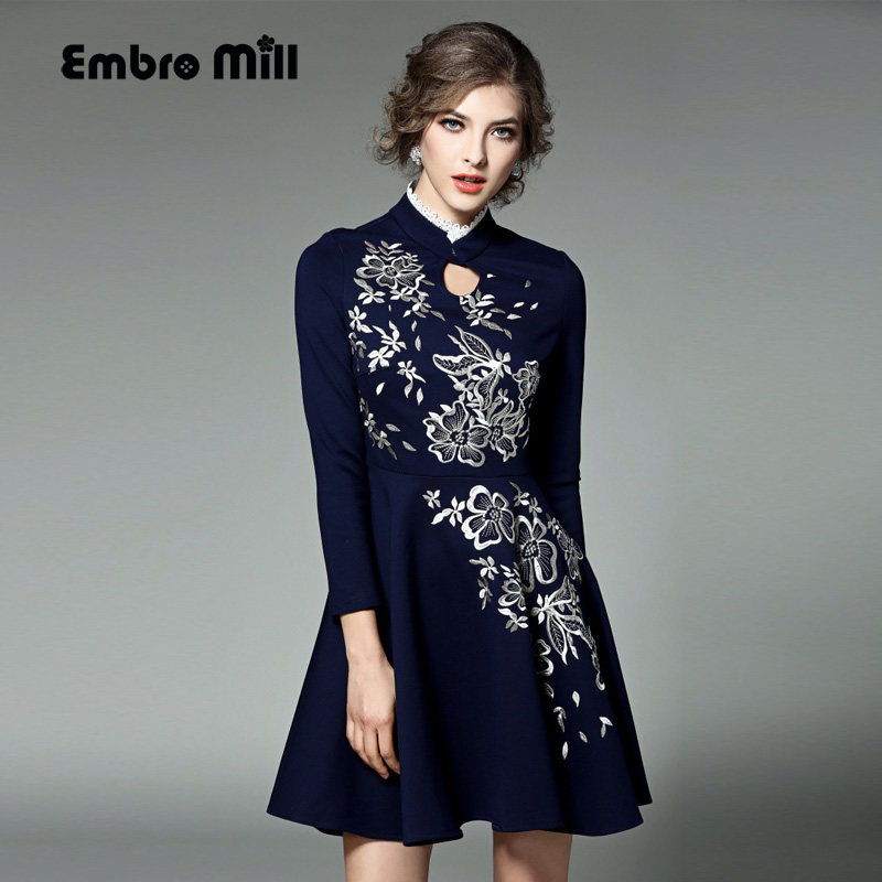 High-end Spring/Autumn dress Chinese style vintage royal embroidery slim blue dress fashion runway lady party dresses S-XXL