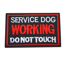 10x6CM Borduren Naaien Iron On Patches Letters Werken Service Hond Zwart Rood Badges Voor Jurk Tas Jeans hoed T-shirt DIY Applicaties(China)