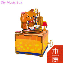 Hot Sale Diy Bear Doll House Music Box Miniature Furniture House Toys for Children Wooden Box Toys Building Model JHZQW070-10