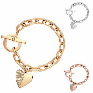 Bracelet Charm Crystal Heart-Cuff Gold-Sliver Rose-Gold Polishing Wholesale Fashion Trendy