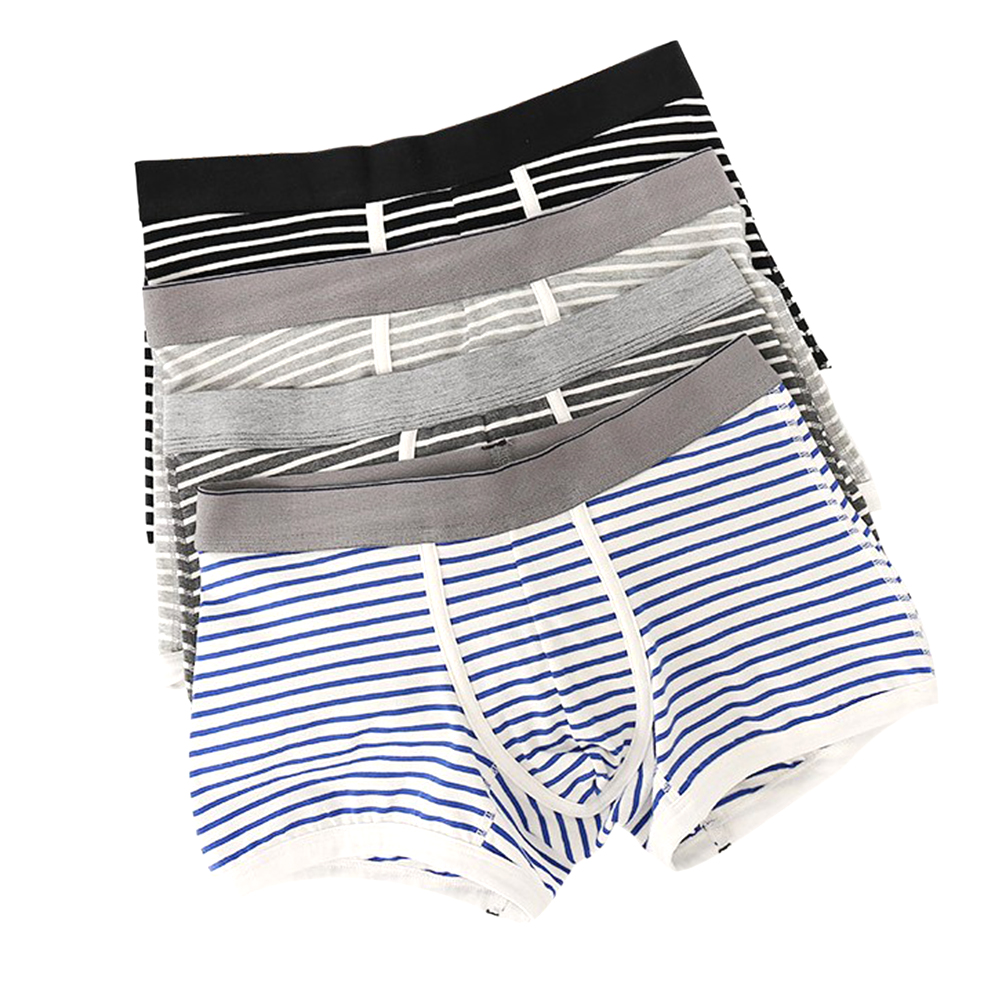 NXY Mens 4pcs Striped Soft Cotton Stretch Underwares Smart Temp Breathable Boxer Shorts
